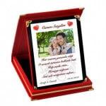 Sevgiliye Özel Kadife Kutusunda Resim ve Mesajlı Plaket