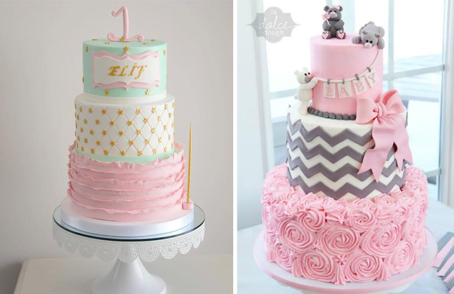 3 katlı 1 yaş doğum günü pastası