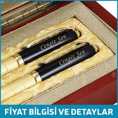 Kişiye Özel Şık Tasarımlı Ahşap Kutulu İkili Kalem
